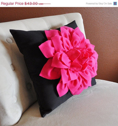 MOTHERS DAY SALE Pillow - 16 x 16 inch Hot Pink Dahlia Flower on Black Pillow