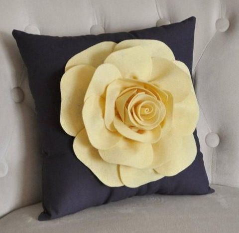 MOTHERS DAY SALE Light Yellow Rose on Gray Pillow