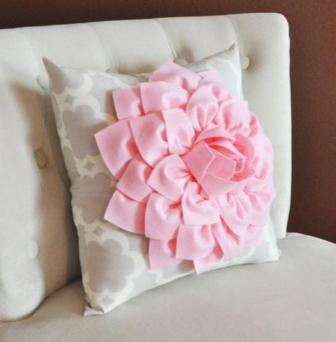 MOTHERS DAY SALE Light Pink Dahlia Flower on Neutral Gray Tarika Pillow Accent Pillow Throw Pillow Toss Pillow