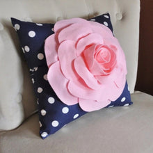 Load image into Gallery viewer, Rose Pillow Light Pink Flower on Navy and White Polka Dot Pillow 14x14 Flower Pillow - Daisy Manor