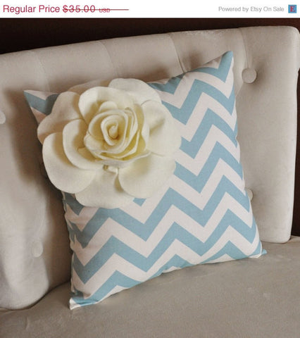 MOTHERS DAY SALE Ivory Corner Rose on Blue and Natural Zigzag Pillow 14 X 14 -Chevron Flower Pillow- Zig Zag Pillows