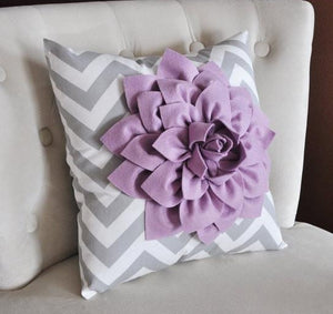 Lilac Dahlia on Gray and White Zigzag Pillow -Decorative Chevron Pillow- - Daisy Manor