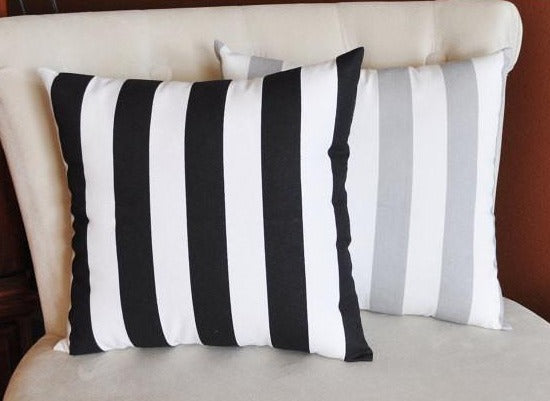 Two Stuffed Stripe Pillows -Choose Your Own Colors- Premier Prints-14 x 14 - Daisy Manor