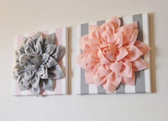 Two Wall Flowers -Gray Dahlia on Pink and White Stripe and Pink Dahlia on Gray and White Stripe- 12 x12