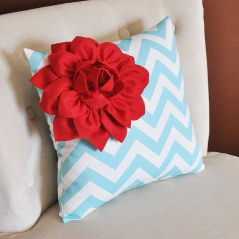 MOTHERS DAY SALE Red Corner Dahlia on Aqua and White Zigzag Pillow -Chevron Pillow-