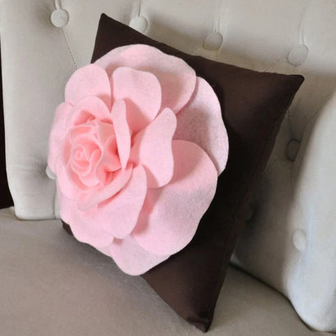 "MOTHERS DAY SALE Pink Rose on Brown Pillow 14""x14"" Throw Pillow"