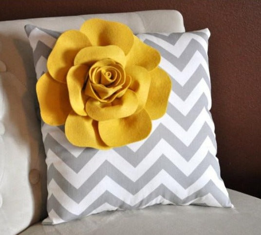 Mellow Yellow Corner Rose on Gray and White Zigzag Pillow 14 X 14 -Chevron Flower Pillow- Zig Zag Pillows - Daisy Manor