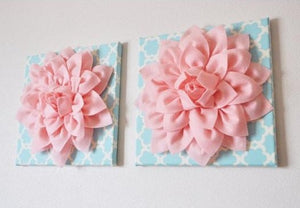 "Two Wall Flowers -Light Pink Dahlia on Blue Tarika 12 x12"" Canvas Wall Art- Baby Nursery Wall Decor- - Daisy Manor"