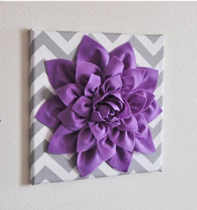 "Wall Decor -Lavender Dahlia on Gray and White Chevron 12 x12"" Canvas Wall Art- Baby Nursery Wall Decor- - Daisy Manor"