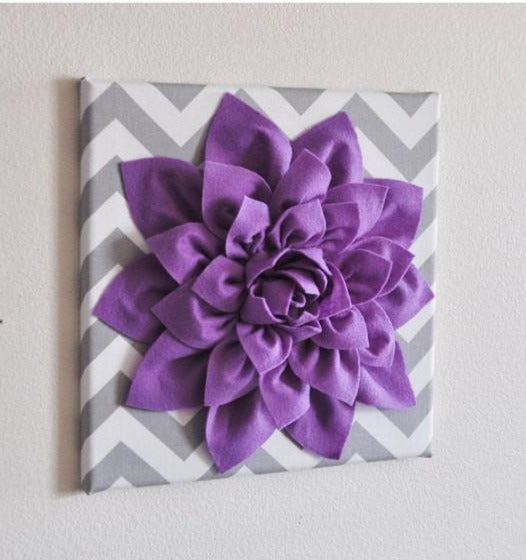 Wall Decor -Lavender Dahlia on Gray and White Chevron 12 x12