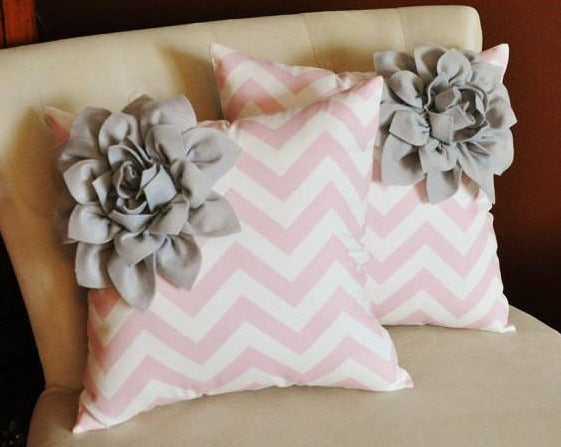 Two Decorative Pillows Gray Corner Dahlia on Light Pink and White Zigzag Pillows - Daisy Manor