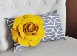 Pillow - Decorative Pillow - Throw Pillow - Lumbar Pillow - Mustard Rose on Charcoal Gray Porta Bella Pillow - Daisy Manor