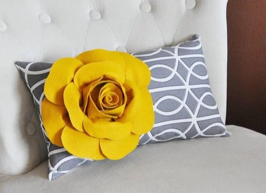 Mustard Rose on Charcoal Gray Porta Bella Pillow - Daisy Manor