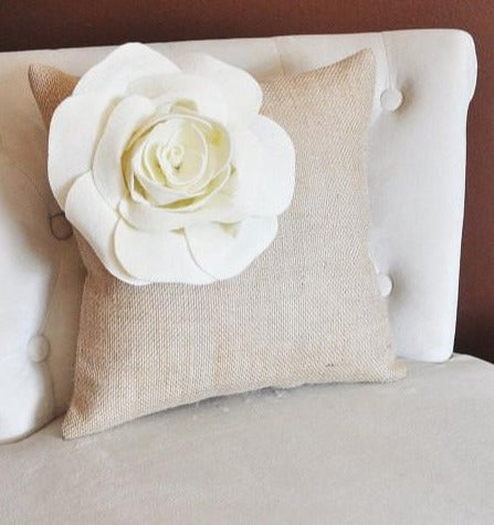 MOTHERS DAY SALE Two Ivory Corner Rose Flower on Burlap Pillows Accent Pillow Throw Pillow Toss Pillow Rustic Pillow