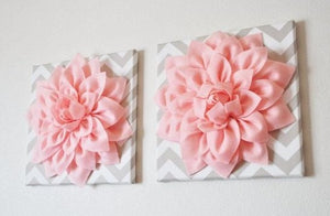 "Two Wall Flowers -Light Pink Dahlia on Taupe and White Chevron 12 x12"" Canvas Wall Art- Baby Nursery Wall Decor- - Daisy Manor"