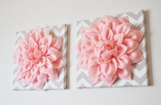 Two Wall Flowers -Light Pink Dahlia on Taupe and White Chevron 12 x12