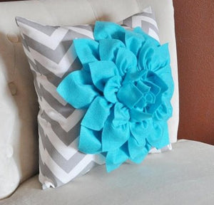 Turquoise Dahlia on Gray and White Zigzag Pillow -Chevron Pillow- Toss Pillow Modern Pillow - Daisy Manor