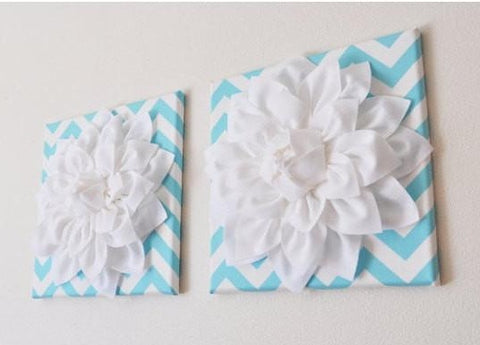 "MOTHERS DAY SALE Two Wall Flowers - White Dahlia on Aqua and White Chevron 12 x12"" Canvases Wall Art- Baby Nursery - Wall Decor-"