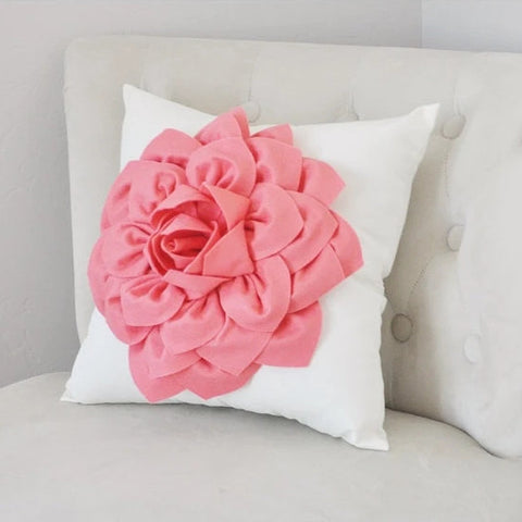 Mothers Day Sale Light Coral Dahlia Felt Flower On Ivory Pillow