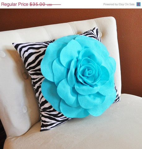 MOTHERS DAY SALE Light Turquoise Rose on Zebra Pillow 14x14