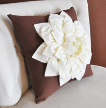 Load image into Gallery viewer, Ivory Dahlia Felt Flower on Brown Pillow  -Pick your Colors- Mum Flower Pillow- Textured Pillow - Daisy Manor