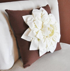 Ivory Dahlia Felt Flower on Brown Pillow  -Pick your Colors- Mum Flower Pillow- Textured Pillow - Daisy Manor