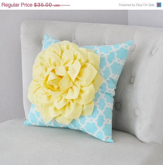 Light Yellow Dahlia Flower on Aqua Blue Tarika Pillow Accent Pillow Throw Pillow Toss Pillow - Daisy Manor