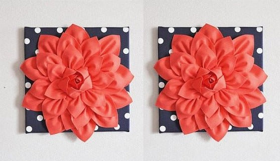 Set of Two Wall Flower -Coral Dahlia on Navy and White Polka Dot 12 x12