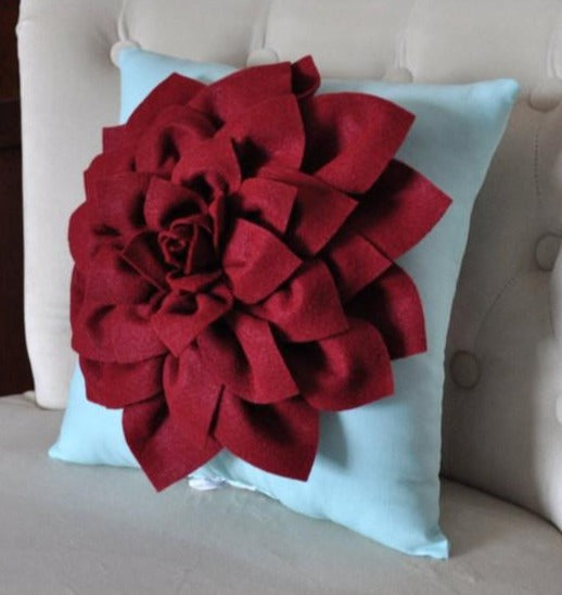 Shabby Chic - Dahlia Felt Flower Decorative Pillow  -Ruby Red on Aqua - 14