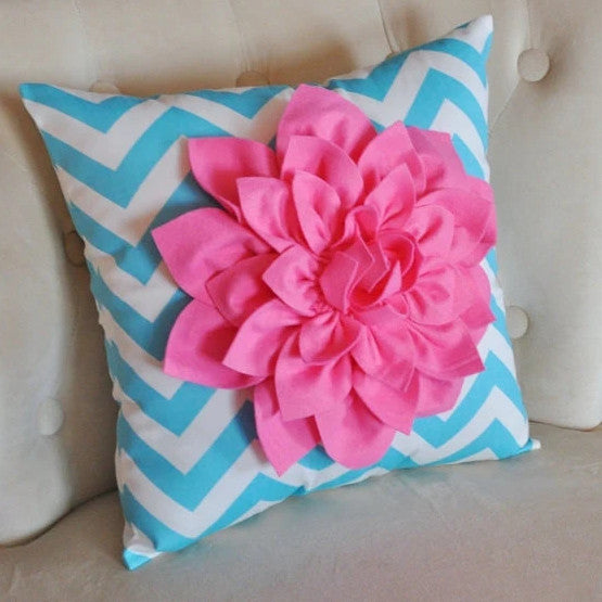 Pink Dahlia on Girly Blue and White Zigzag Pillow -Chevron Pillow- - Daisy Manor