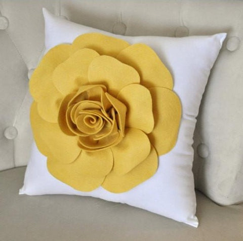 MOTHERS DAY SALE Mellow Yellow Rose on White Pillow