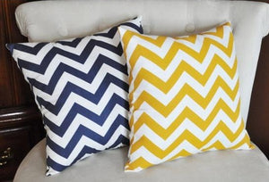 Two Stuffed Chevron Pillows -Choose Your Own Colors- Zig Zag 14 x 14 - Daisy Manor