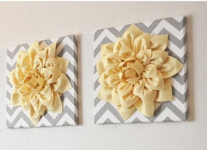 "Two Wall Flowers -Light Yellow Dahlia on Gray and White Chevron 12 x12"" Canvas Wall Art- 3D Felt Flower - Daisy Manor"
