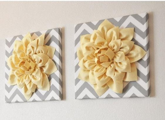 Two Wall Flowers -Light Yellow Dahlia on Gray and White Chevron 12 x12