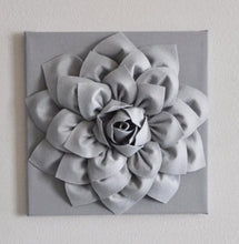 Load image into Gallery viewer, Silver Gray Wall Flower Wall Hanging, Nursery Art, Baby Art, Wall Decor, Holiday Decor, Holiday Wall Art, Christmas, Gray N - Daisy Manor