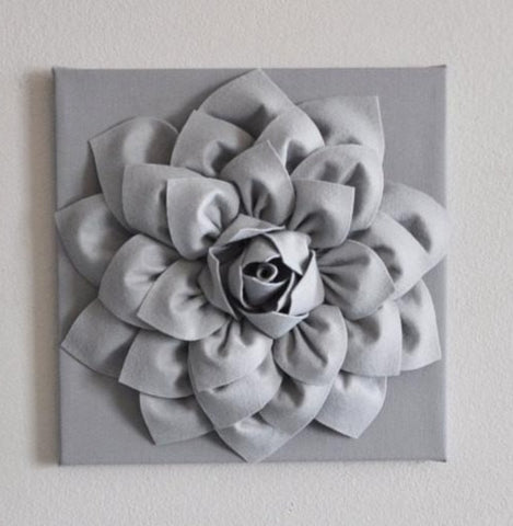 MOTHERS DAY SALE Silver Gray Wall Flower Wall Hanging, Nursery Art, Baby Art, Wall Decor, Holiday Decor, Holiday Wall Art, Christmas, Gray N