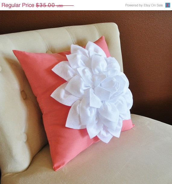 White Dahlia Flower on Coral Pink Pillow Accent Pillow Throw Pillow Toss Pillow - Daisy Manor