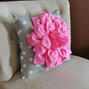 Pink Dahlia on Gray and White Polka Dot Pillow -Baby Nursery Pillow- Toss Pillow Decorative Pillow - Daisy Manor