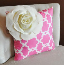 Load image into Gallery viewer, Ivory Corner Rose Flower on Pink Tarika Pillow -Accent Pillow Throw Pillow Toss Pillow Baby Nursery Pillow - Daisy Manor