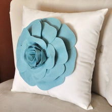 Load image into Gallery viewer, Rose Applique Dusty Blue Rose on Cream Pillow 14x14 -New Color- - Daisy Manor