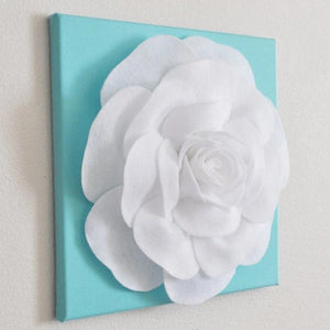 "Rose Wall Hanging- White Rose on Aqua Blue Solid 12 x12"" Canvas Wall Art- 3D Felt Flower - Daisy Manor"