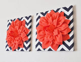 "MOTHERS DAY SALE Two Wall Flower -Coral Dahlia on Navy and White Chevron 12 x12"" Canvas Wall Art- Flower Wall Art"
