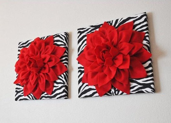 Two Wall Flowers -Red Dahlia Flowers on Black and White Zebra Print 12 x12