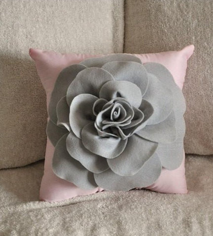 MOTHERS DAY SALE Pillows - Light Grey Rose on Light Pink Pillow 14x14