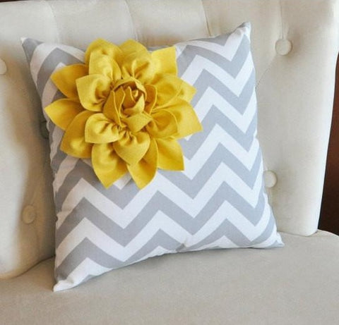 MOTHERS DAY SALE Mellow Yellow Corner Dahlia on Gray and White Zigzag Pillow 14 X 14 -Chevron Flower Pillow- Zig Zag Pillows