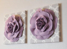 "Load image into Gallery viewer, Two Wall Flowers -Lilac Rose on Neutral Gray Tarika Print 12 x12"" Canvas Wall Art- Baby Nursery Wall Decor- - Daisy Manor"