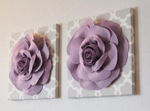 "Two Wall Flowers -Lilac Rose on Neutral Gray Tarika Print 12 x12"" Canvas Wall Art- Baby Nursery Wall Decor- - Daisy Manor"