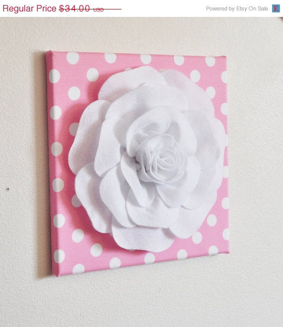 Nursery Wall Decor -White Rose on Pink with White Polka Dot 12 x12