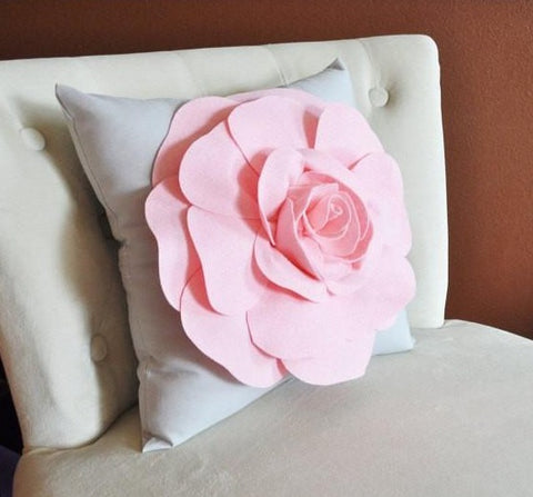 MOTHERS DAY SALE Light Pink Rose on Light Grey Pillow 14x14