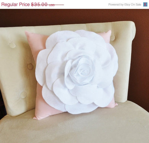 MOTHERS DAY SALE Throw Pillow White Rose on Light Pink Pillow 14x14